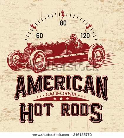 T Shirt Graphics Vintage Race Car For Printing Vector Old School