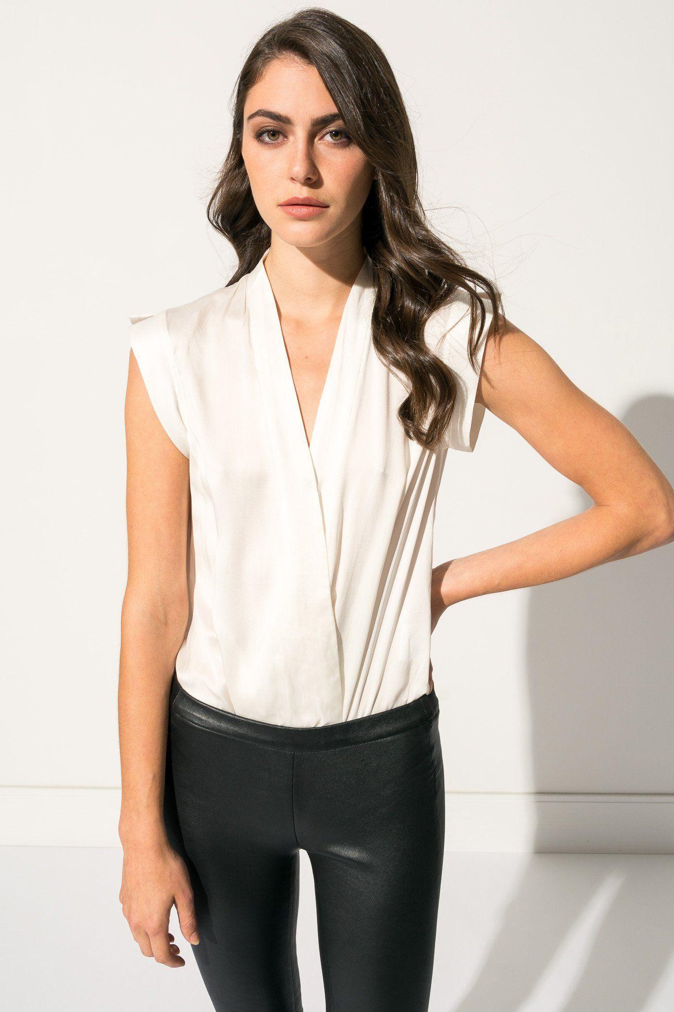 25fd2b425 CINTA White Sleeveless Silk Bodysuit