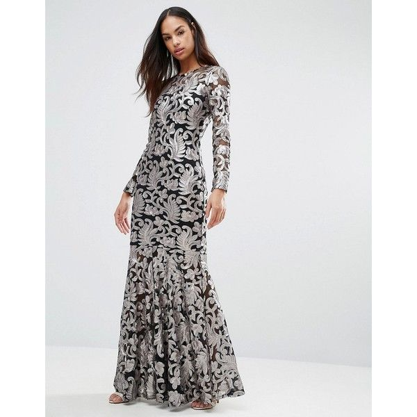 Club L Brocade Sequin Fishtail Maxi Dress With Long Sleeves 56 Liked On Polyvore Featur Fishtail Maxi Dress Maxi Dress Cocktail Long Sleeve Cocktail Dress