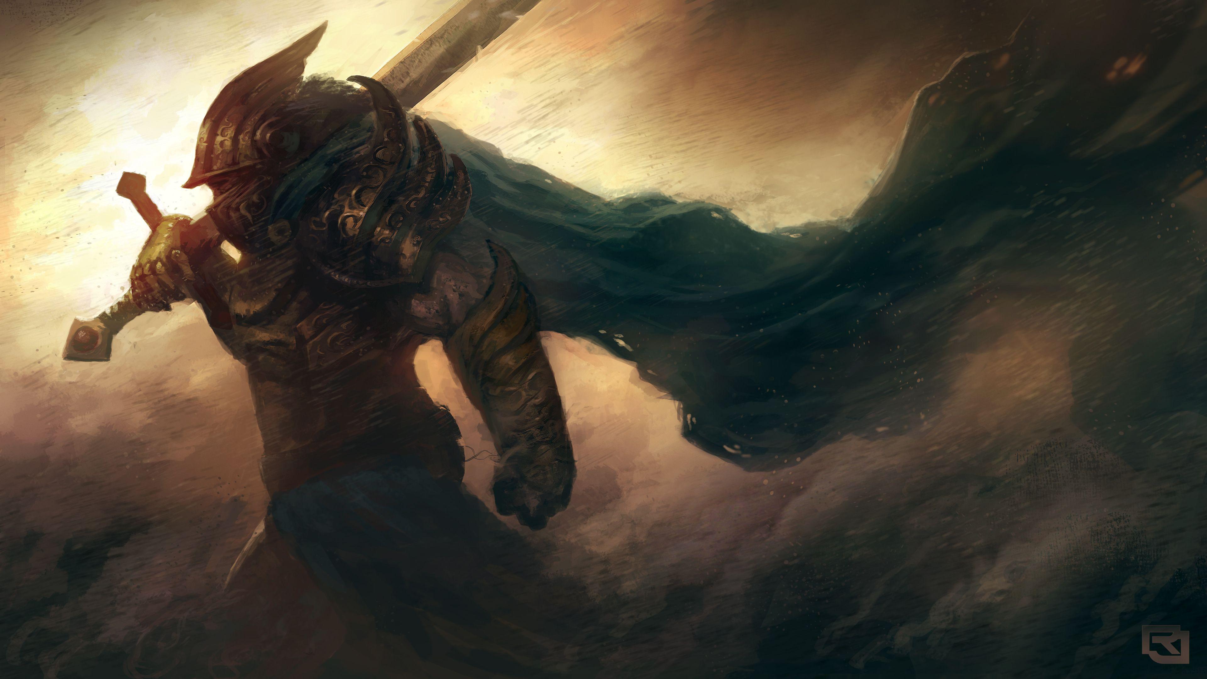 download wallpaper 3840x2160 art, warrior, armor, helmet, sword