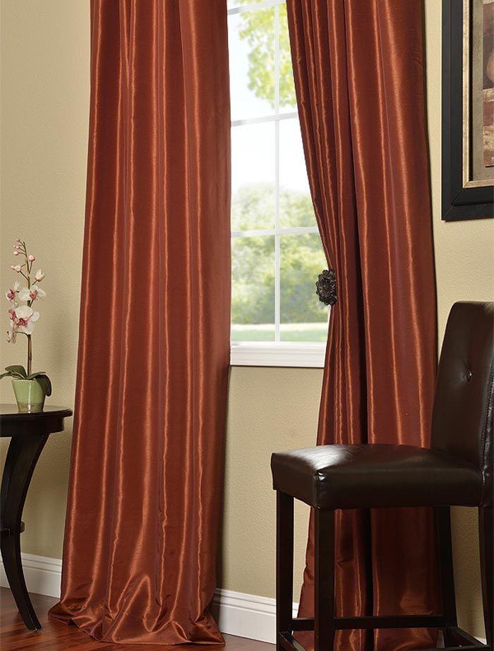 Burnt Orange Vintage Textured Faux Dupioni Silk Curtains Orange