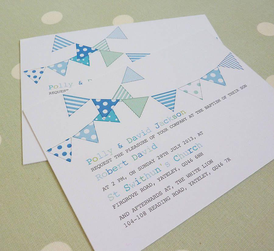 bunting personalised christening invitations by little cherub