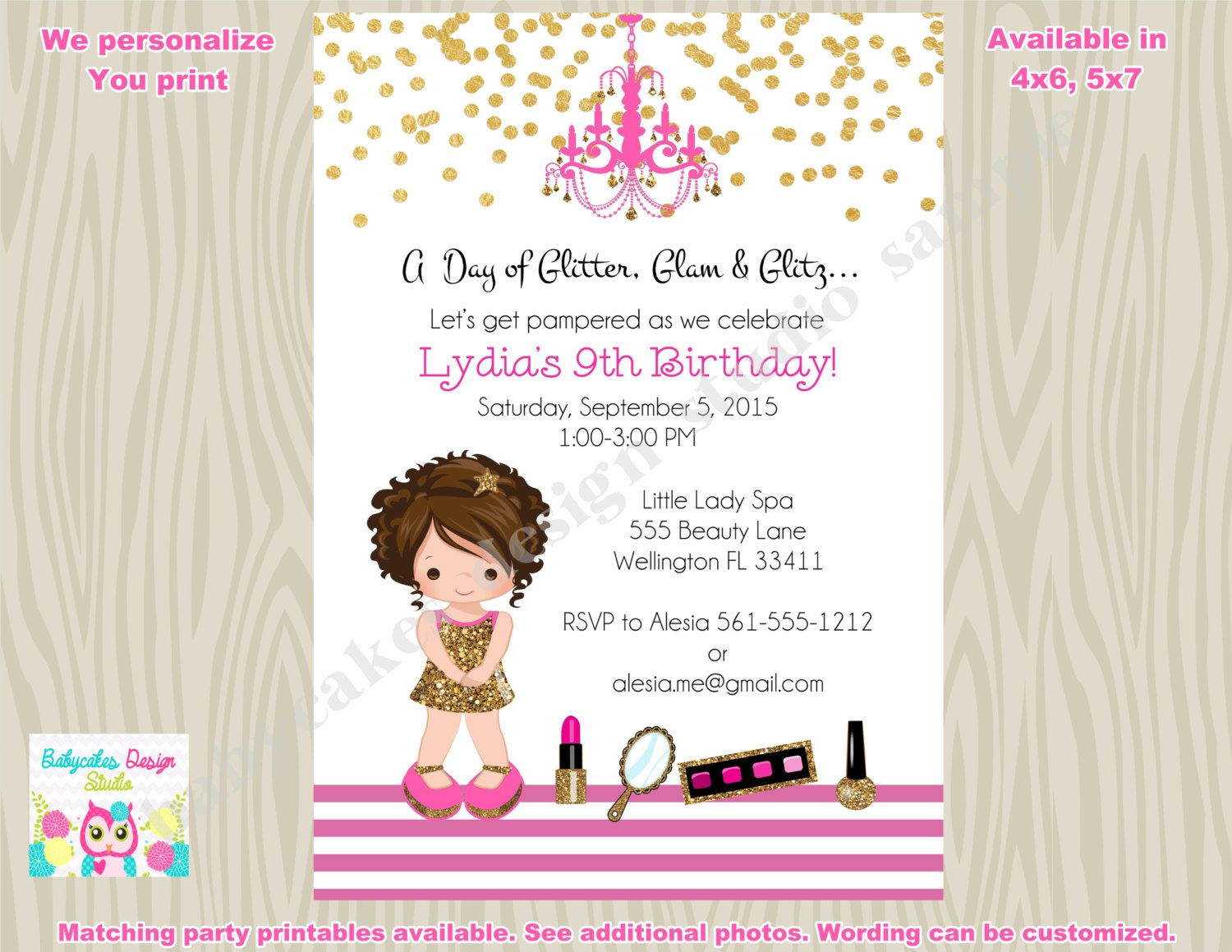 Glamour Party Invitation invite Glamour birthday dress up pamper ...