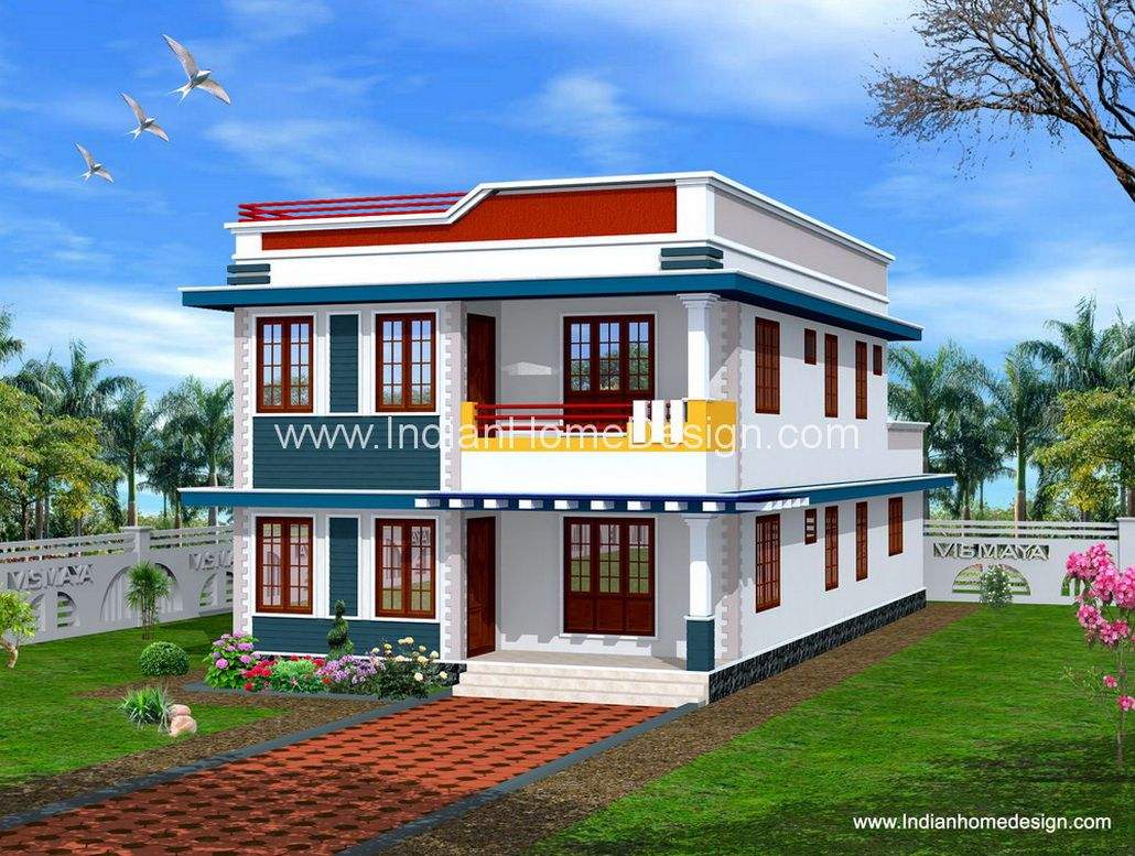 Terrific simple kerala style home exterior design for for Simple kerala home designs
