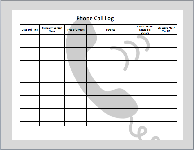 Phone Call Log Template – Weekly Log Template