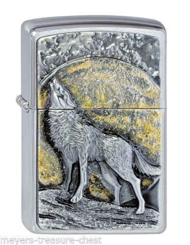 Awesome Zippo Wolf At Moonlight Emblem Luxury Collectible Lighter Very Rare Zippo Lighter Zippo Cool Zippos