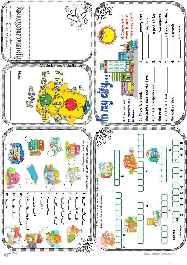My town minibook | 4 Children | Pinterest | Englisch, Kindergarten ...
