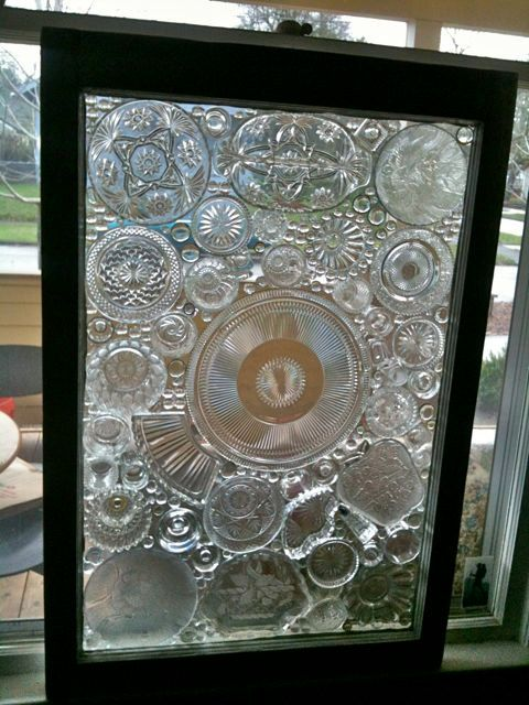 Antique Glass On Glass Mosaic Window Panel By