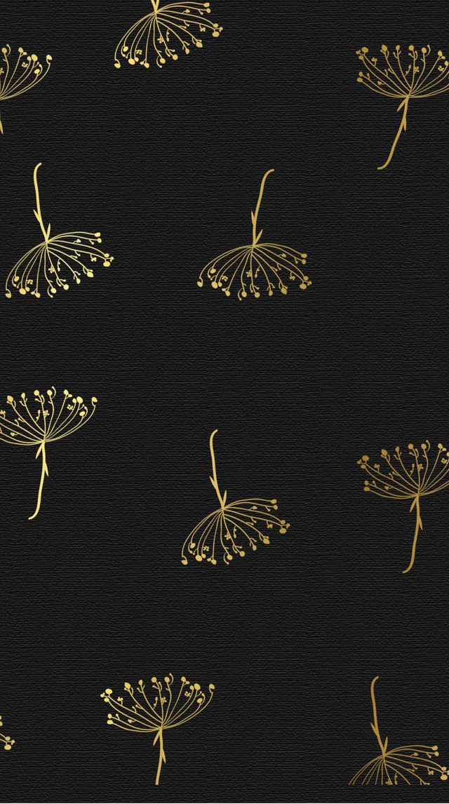 Black Gold Textured Botanical Flora Iphone Wallpaper Phone Background Lock Screen