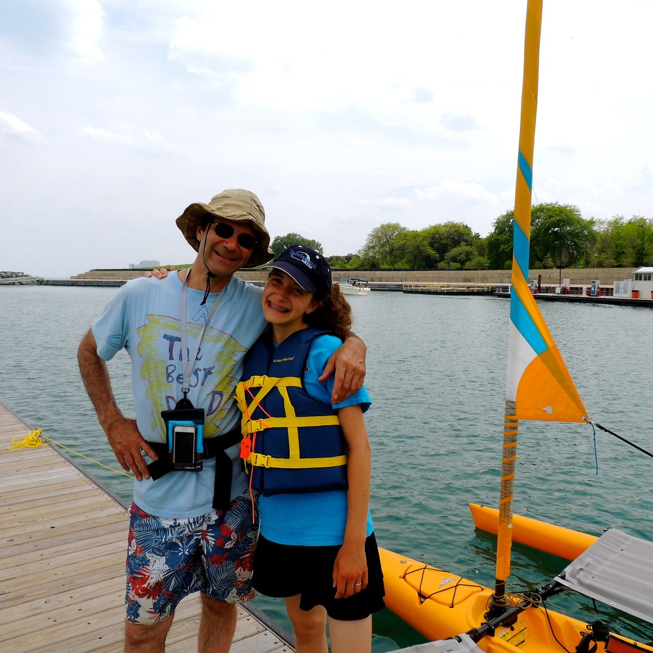 Allen and Hannah heading out on our sailing kayak, after