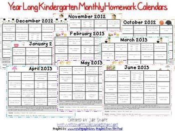 Kindergarten Monthly Homework Calendars  Calendars Full Of