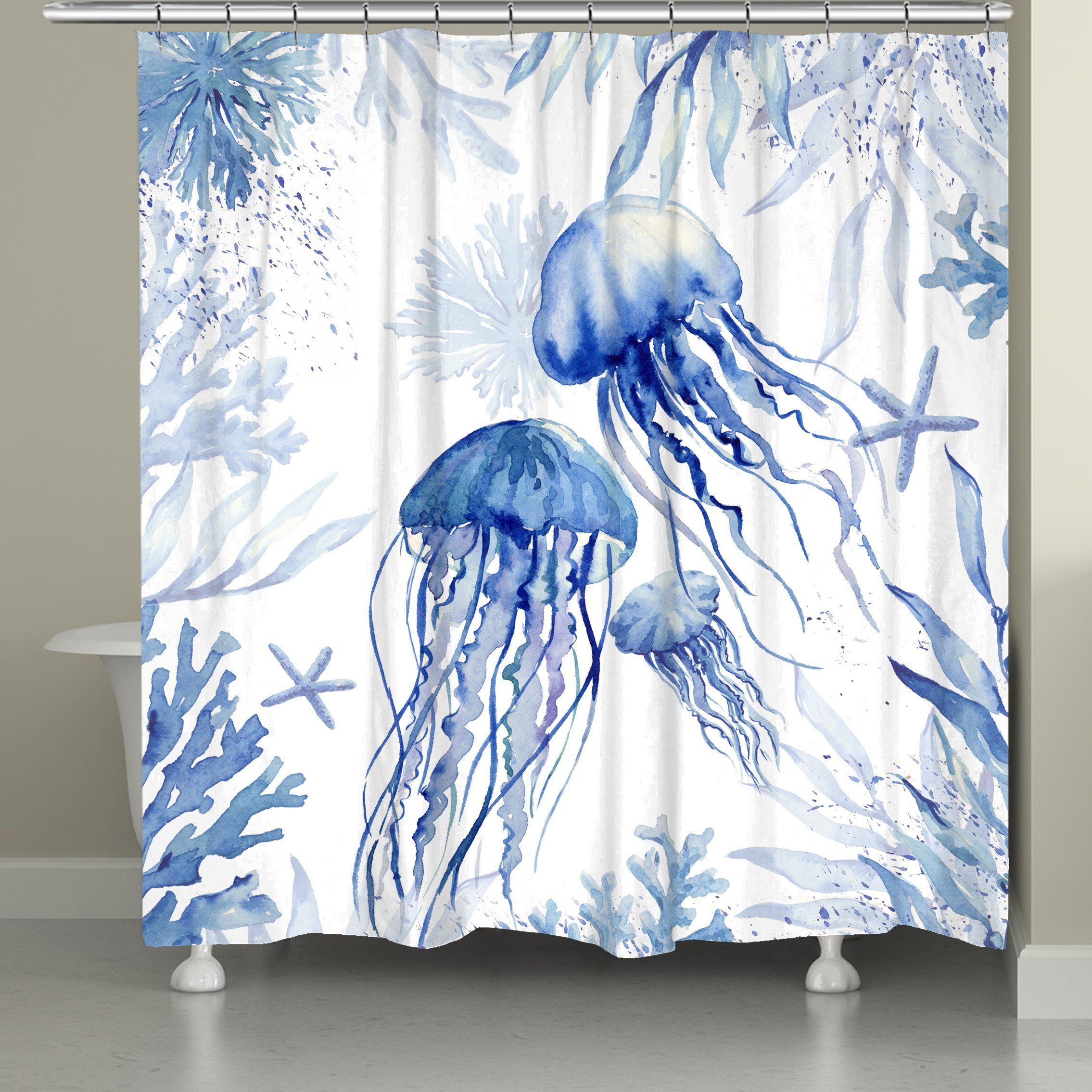 Blue Watercolor Jellyfish Shower Curtain Watercolor Shower