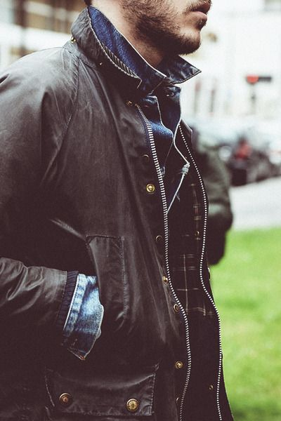 Barbour & Denim wax coat fashion men tumblr Style streetstyle beard jeans shirt