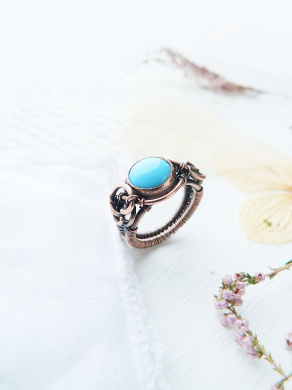 Wire wrapped copper ring - Blue glass cabochon ring - Wire copper ...