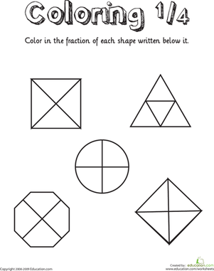 Worksheets First Grade Fractions Worksheets coloring shapes the fraction 14 first grade math and worksheetsfractions