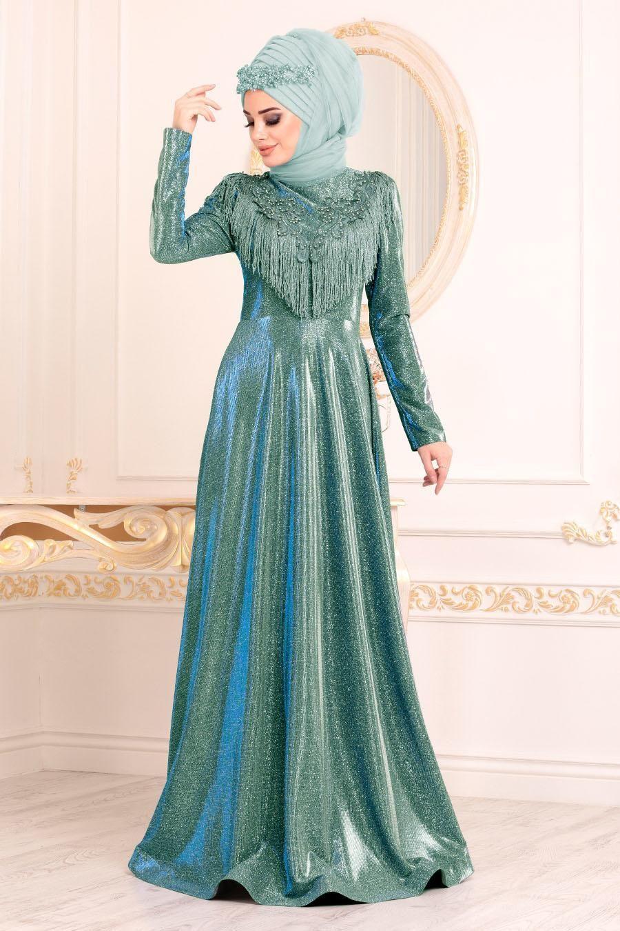Tesetturlu Abiye Elbise Boncuk Detayli Yesil Tesettur Abiye Elbise 20670y Tesetturisland Com The Dress Aksamustu Giysileri Elbise