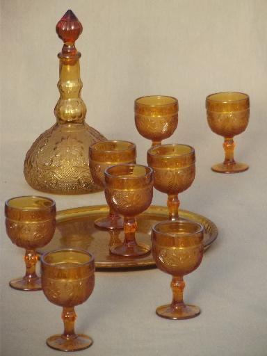 Amber Glass Decanter Set Goblets Tray Tiara Sandwich Daisy Pattern Vintage Decanter Set Glass Decanter Set Vintage Decanter