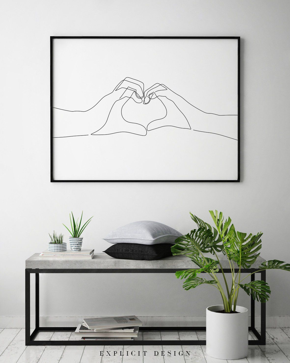 Hand Heart Printable One Line Drawing Print Love Hands Gesture Artwork Finger Poster Original Minimalist Couple Art Minimal Fine Decor Disenos De Unas Decoración De Unas Decoracion Paredes Cuadros
