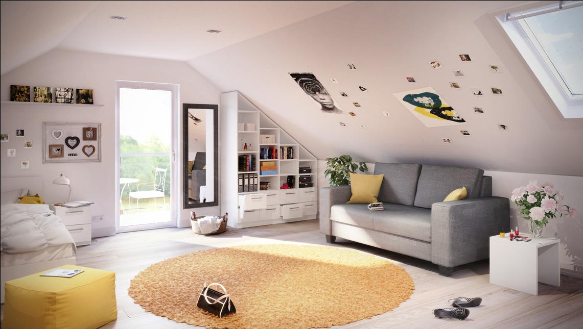 Ein Zimmer Im Dachgeschoss Bietet Oft Wenig Möglichkeiten, Schränke Und  Regale Aufzustellen. Ein Regal
