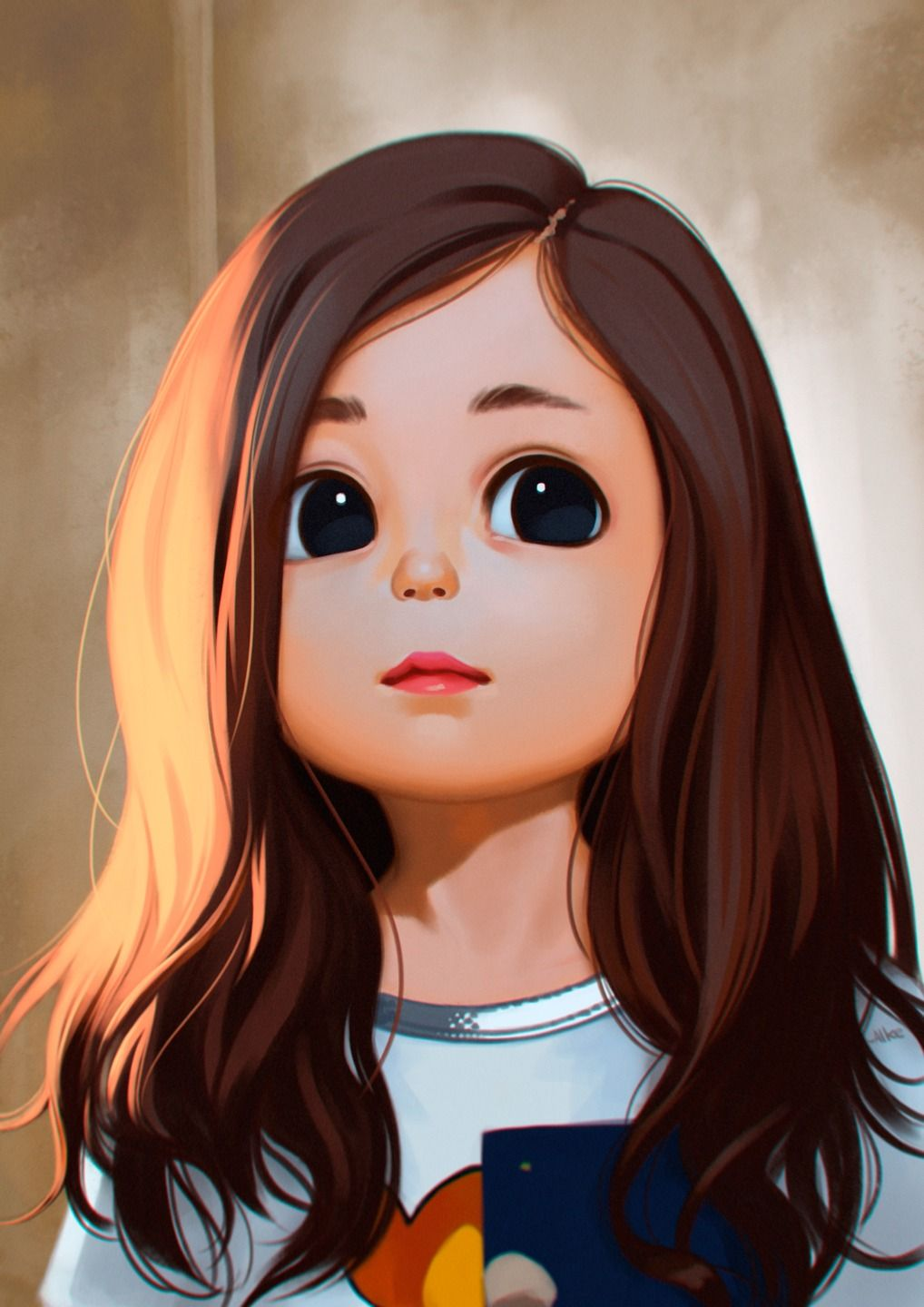 Alke My Last Painting Used A Photo As A Reference Cuteeeeeeeeeee The Eyess So Bigggggg Girl Cartoon Characters Girl Face Drawing Girl Cartoon