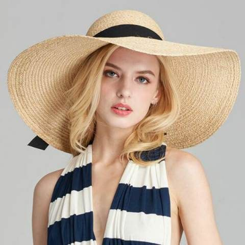 ca55135f99e Summer floppy straw sun hat for women UV bow travel wide brim straw hats   HatsForWomenFloppy
