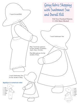 Sun bonnet Sue and Overall Bill templates - I have some fabric cut - bill calendar template