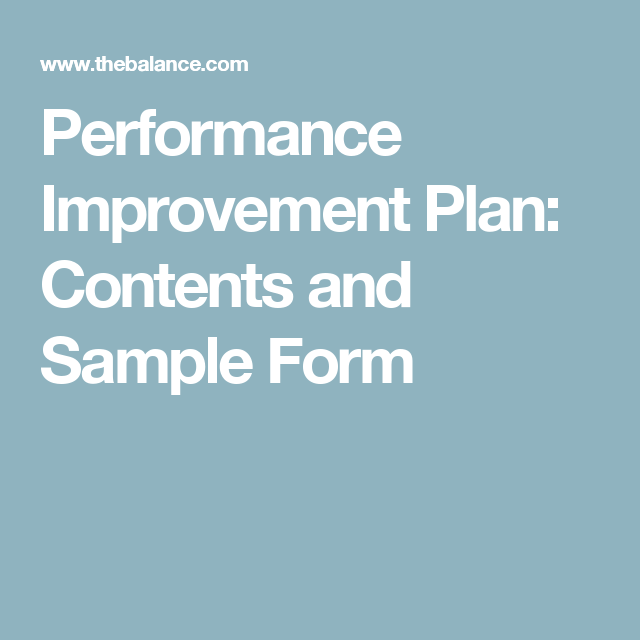 WhatS Included In An Employee Performance Improvement Plan