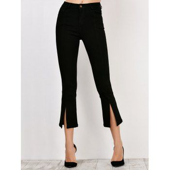 Slit Skinny High Waisted Crop Flare Pants