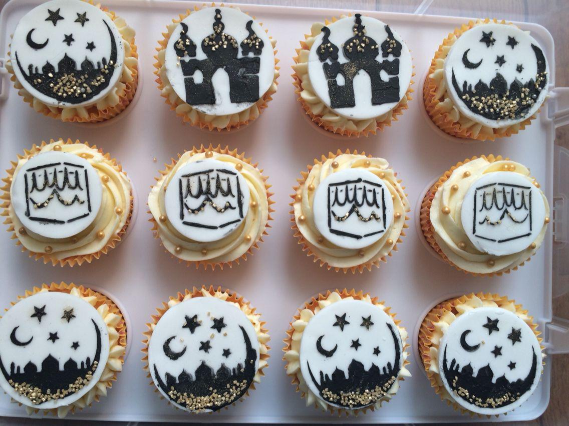 Umrah Banner: Hajj, Umrah And Ramadan Celebration Cupcakes. Black, White