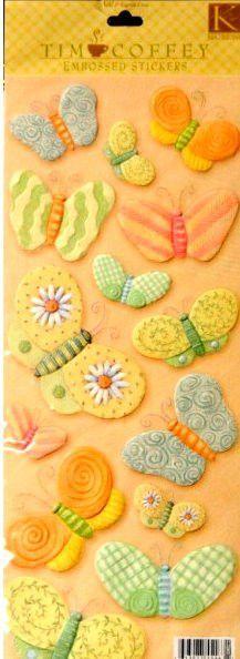 K & Company Tim Coffey Peach Butterflies Embossed Scrapbook Stickers