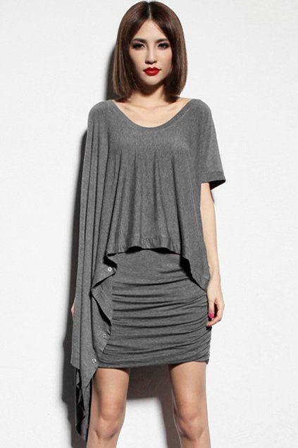 Anomalous Multi Wearing Dark-Grey T-Shirt From romwe.com