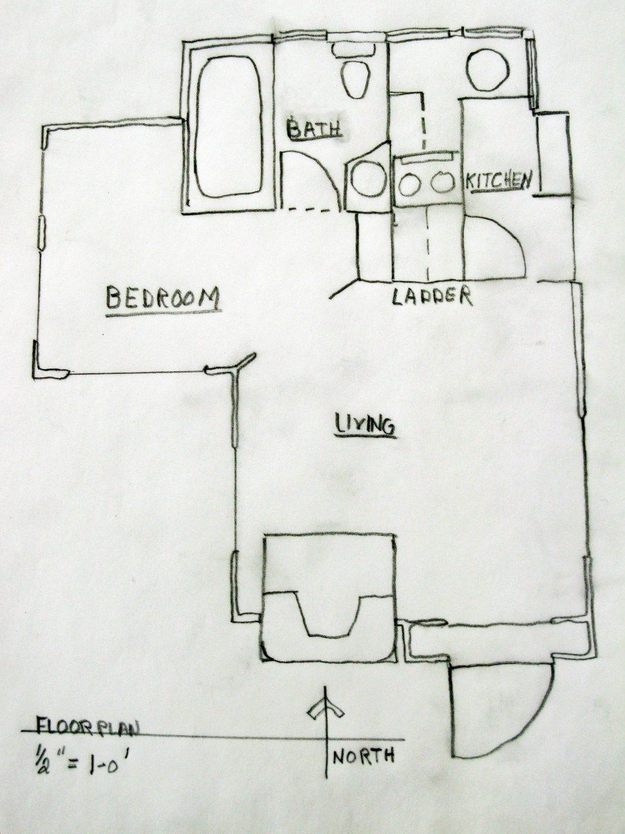THE FLOORPLAN FOR HANSEL HUGH STOCK'S FIRST 'FAIRY HOUSE IN THE WOODS'