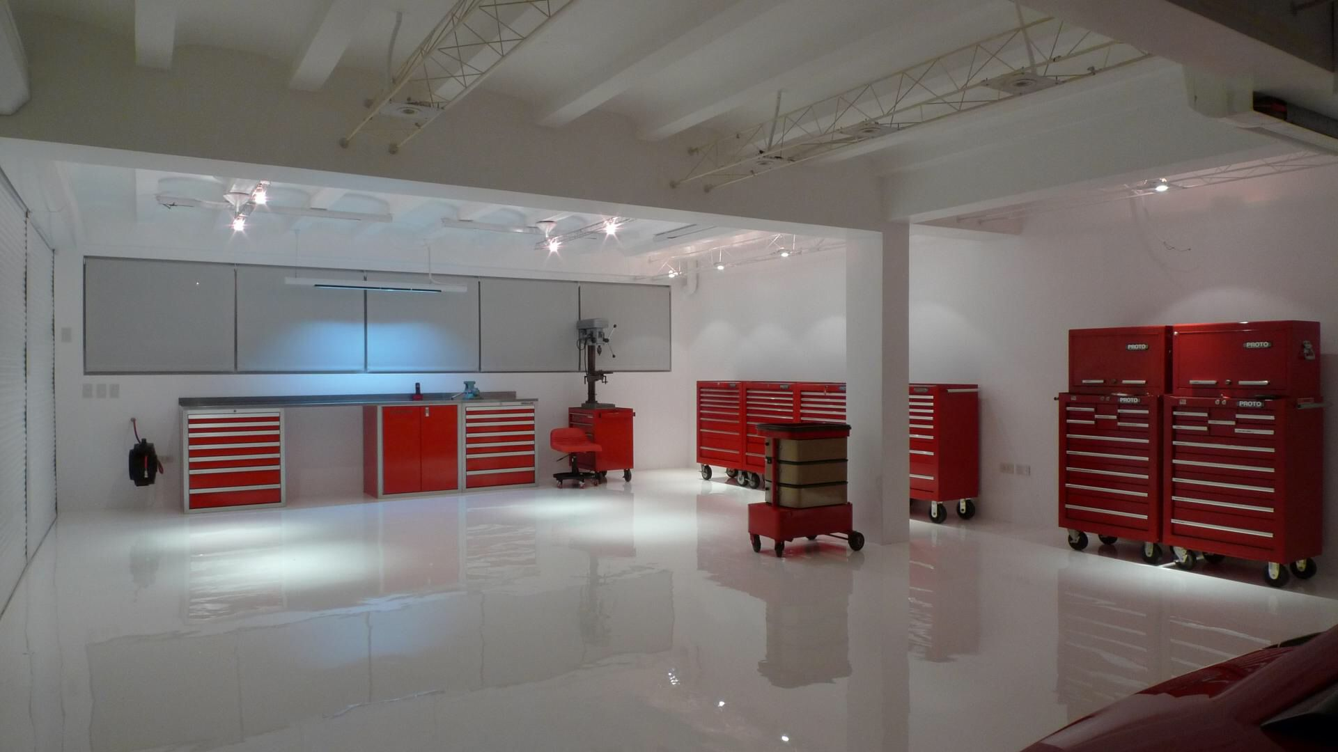 White epoxy flooring modern garage in far east the for In ground garage