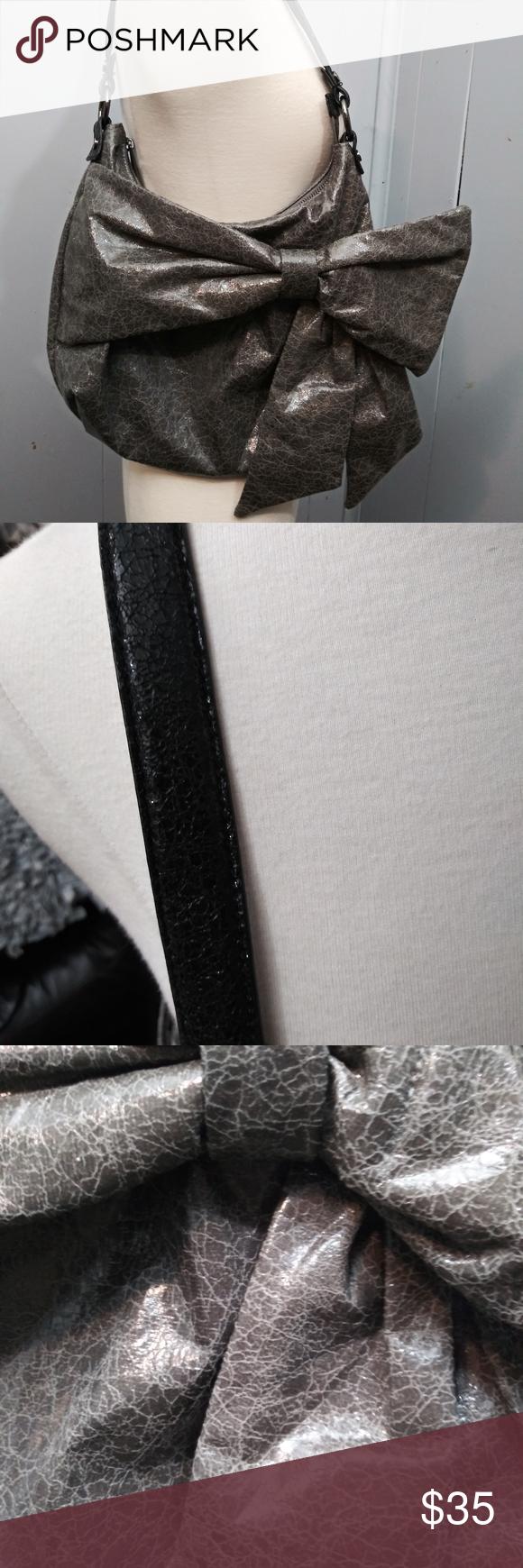 Simply Vera Hobo Purse w/Bow Grey/Black Large hobo bag in a beigey grey crackle …