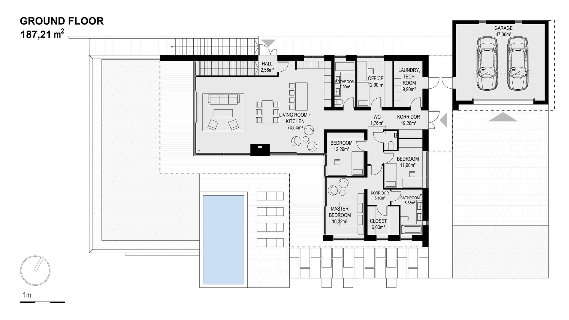0090 Modern Villa Bjared In Sweden Plan 2 Flat Roof House L Shaped House Plans House Roof
