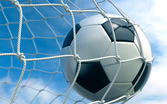Download Wallpapers Football Ball Goal Goal Net Ball In The Net Soccer Football Concepts Football Match Besthqwallpapers Com Soccer Ball Football Goal Post Football Ball