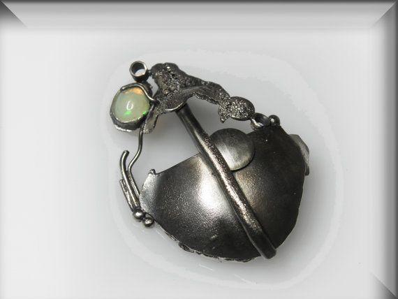 Vesna Kolobaric by VESNAjewelryART - art silver pendant with opal patinated jewelry