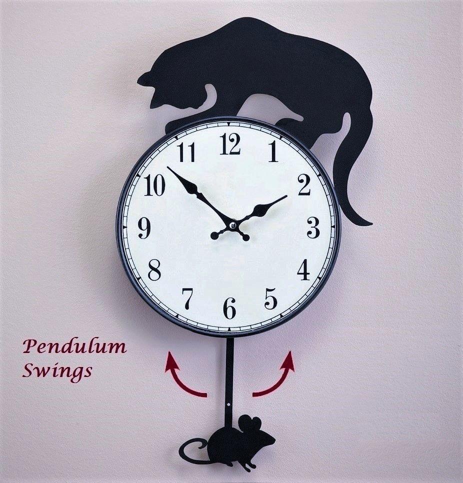 Cat mouse swinging pendulum metal wall clock home kitchen decor cat mouse swinging pendulum metal wall clock home kitchen decor amipublicfo Gallery