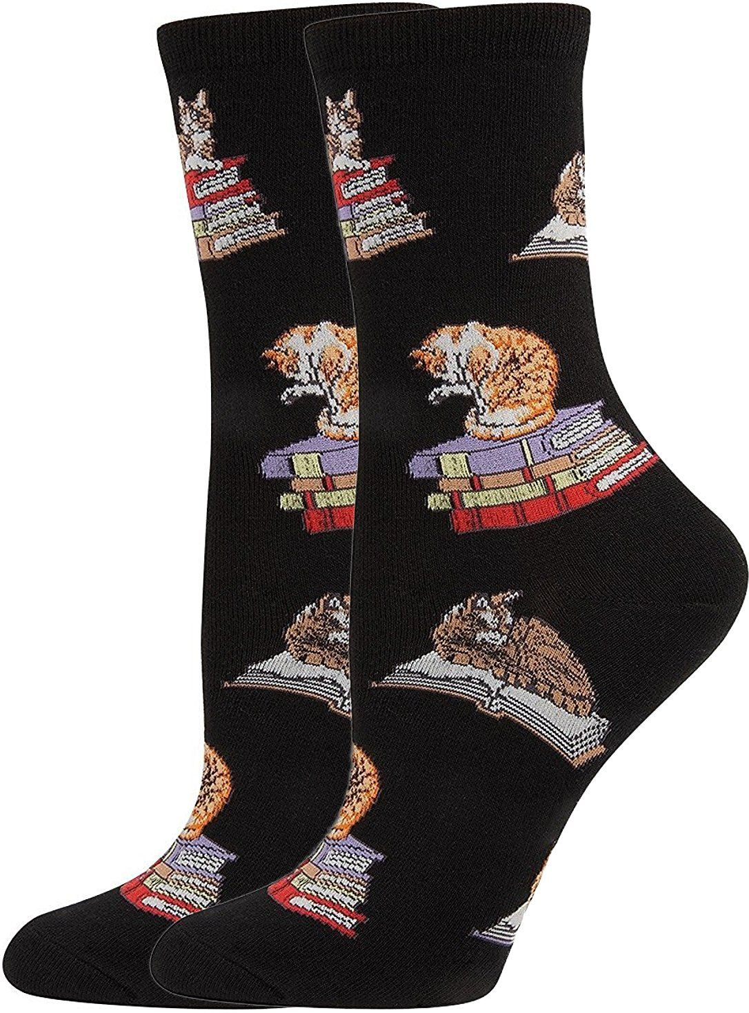 Socksmith Women's Cats On Books Crew Socks, Black Chewy