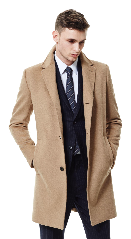 Men's Camel Overcoat, Black Vertical Striped Suit, White Dress ...