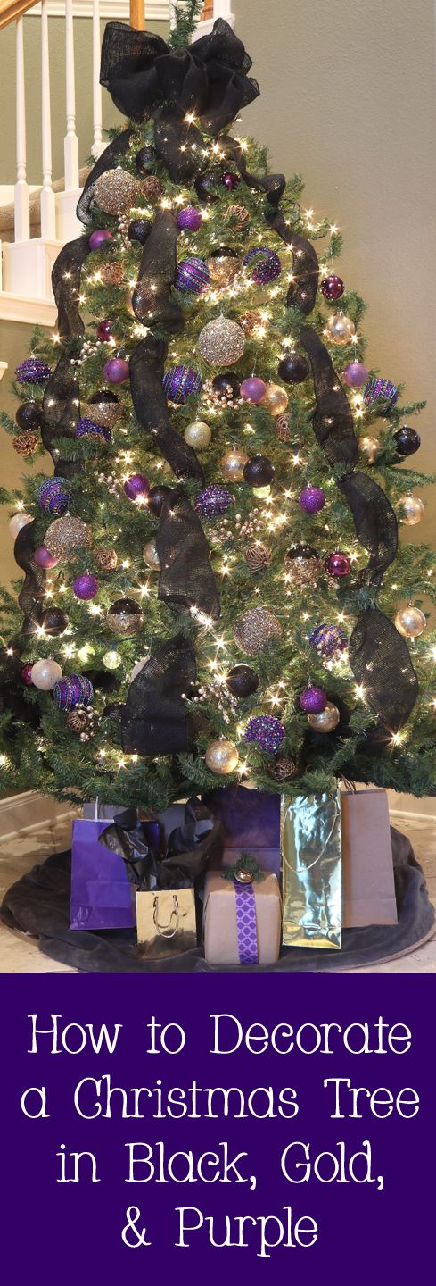 How to decorate a Christmas tree in black, gold, and purple