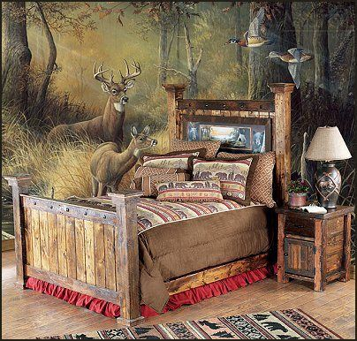 Bed goes great with the wall mural. :)