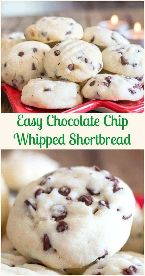 Christmas Time Melt in Your Mouth Easy Chocolate Chip Whipped Shortbread, the best Shortbread Holiday Cookie Recipe.  shortbread  chocolate  Christmas  cookies