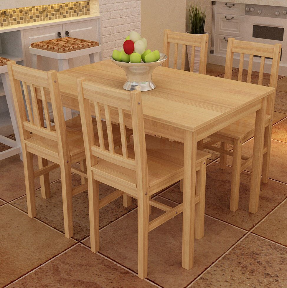 Wooden Dining Set Table And 4 Chairs Quality Solid Pine Wood Kitchen Furniture