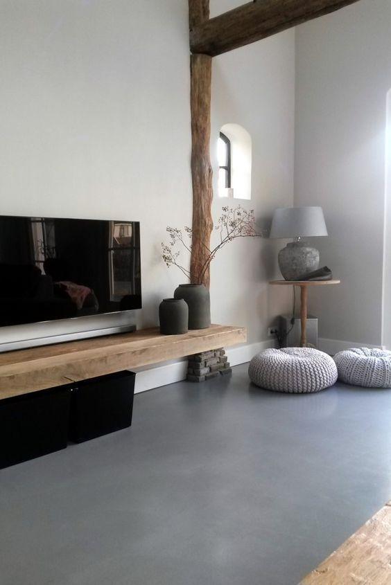 gietvloer woonkamer hout  Huis  Pinterest  Hogar