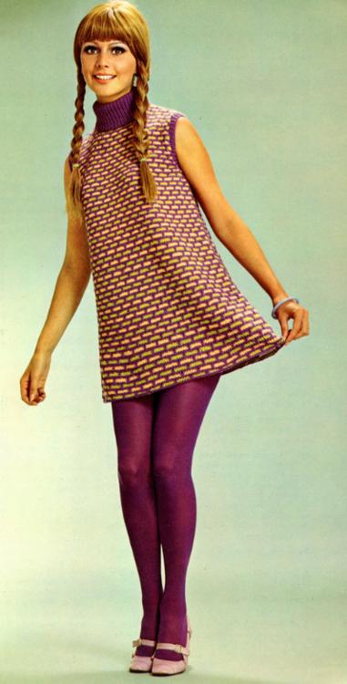 b1e7725685 1960 s Fashion mini dress sweater knit purple graphic print turtleneck 60s  mod vintage fashion tights shoes braids hair