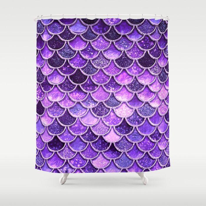 Pantone Ultra Violet Glitter Ombre Mermaid Scales Pattern Shower ...