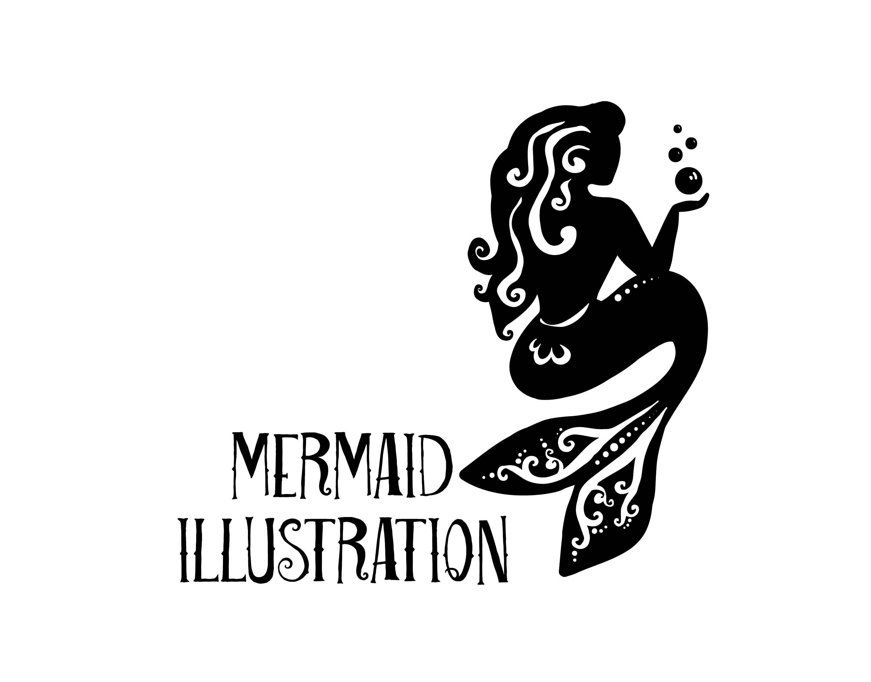 Mermaid Logo with Bubble digital downlad vector, eps, pdf