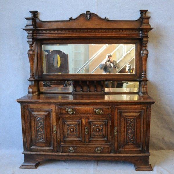 An Oak Mirror Back Sideboard Sideboards Antique