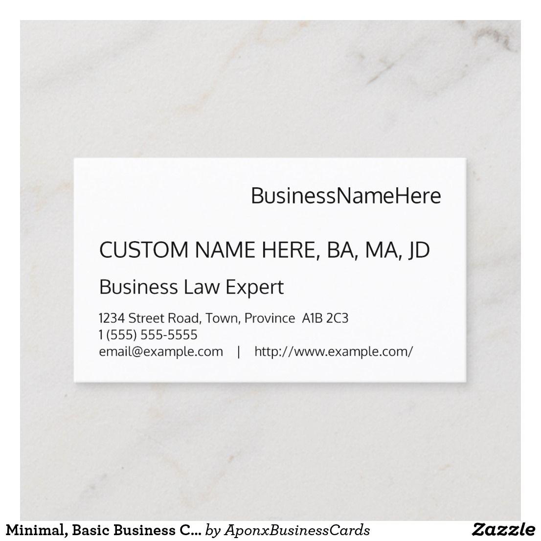 Minimal Basic Business Card Zazzle Com Basic Business Cards Quality Cards